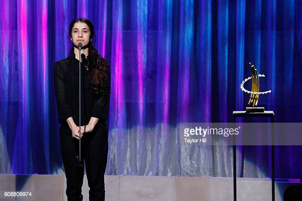 Nadia Murad speaks during the 2016 Clinton Global Citizen Awards during the Clinton Global Initiative Annual Meeting at Sheraton New York Times...