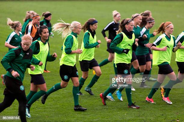 Nadia Nadim and her team mates of the Danish national women's football team train prior to the planned World Cup qualifying match in Gothenburg...