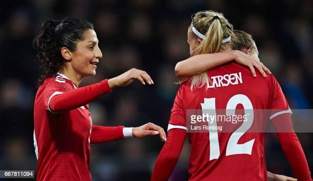 Nadia Nadim and Stine Larsen of Denmark celebrate after scoring their third goal during the international friendly match between Denmark women and...