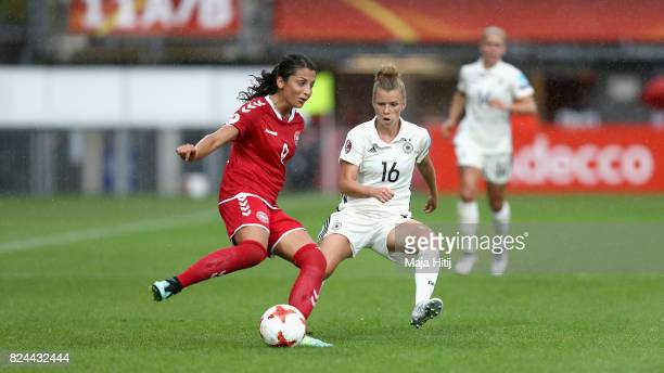 Nadia Nadim of Denmark and Linda Dallmann of Germany battle for possession during the UEFA Women's Euro 2017 Quarter Final match between Germany and...