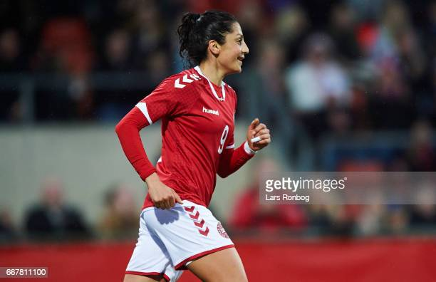 Nadia Nadim of Denmark celebrates after their third goal during the international friendly match between Denmark women and Finland women at Slagelse...