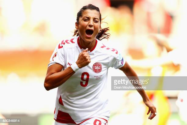 Nadia Nadim of Denmark celebrates scoring her sides first goal during the Final of the UEFA Women's Euro 2017 between Netherlands v Denmark at FC...