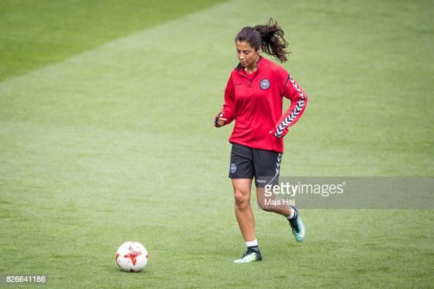 Nadia Nadim of Denmark controls the ball during a training prior UEFA Women's Euro 2017 Final against Netherlands at De Grolsch Veste Stadium on...