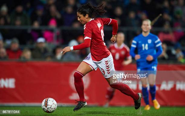 Nadia Nadim of Denmark controls the ball during the international friendly match between Denmark women and Finland women at Slagelse Stadion on April...