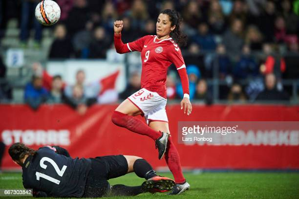 Nadia Nadim of Denmark in action during the international friendly match between Denmark women and Finland women at Slagelse Stadion on April 11 2017...