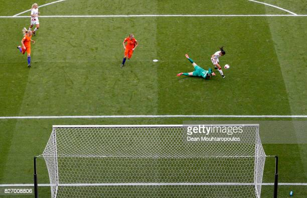 Nadia Nadim of Denmark is bought down in the penalty area by Sari van Veenendaal of the Netherlands the Final of the UEFA Women's Euro 2017 between...