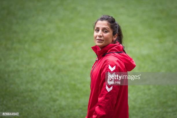 Nadia Nadim of Denmark looks on during a training prior UEFA Women's Euro 2017 Final against Netherlands at De Grolsch Veste Stadium on August 5 2017...