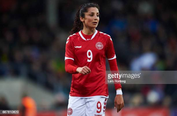 Nadia Nadim of Denmark looks on during the international friendly match between Denmark women and Finland women at Slagelse Stadion on April 11 2017...
