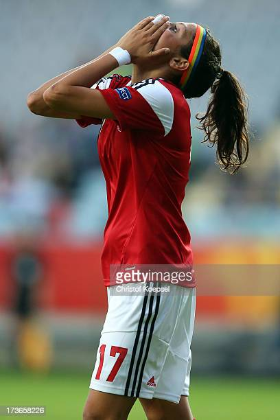 Nadia Nadim of Denmark looks thoughtful after missing a goal during the UEFA Women's EURO 2013 Group A match between Denmark and Finland at Gamla...