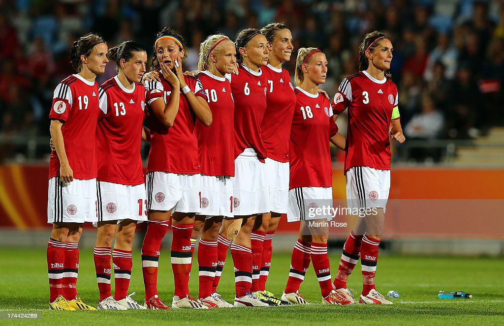 Nadia Nadim (2nd L) of Denmark reacts after losing the UEFA Women's Euro 2013 semi final match between Norway and Denmark at Nya Parken on July 25, 2013 in Norrkoping, Sweden.