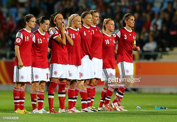 Nadia Nadim of Denmark reacts after losing the UEFA Women's Euro 2013 semi final match between Norway and Denmark at Nya Parken on July 25 2013 in...
