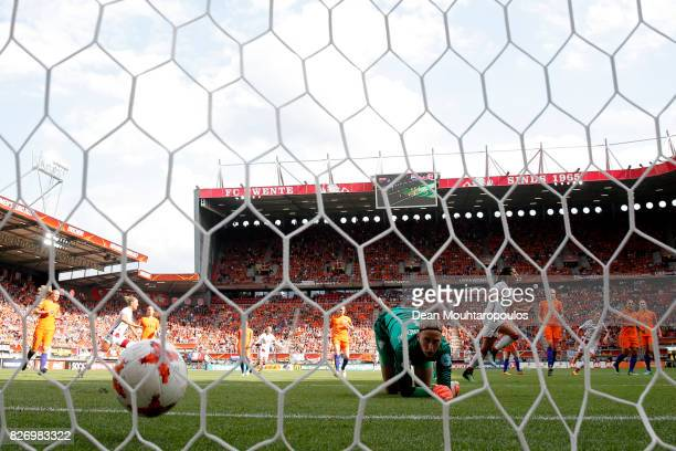Nadia Nadim of Denmark scores the first goal of the game from the penalty spot during the Final of the UEFA Women's Euro 2017 between Netherlands v...