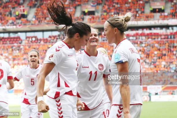 Nadia Nadim of Denmark women Katrine Veje of Denmark women Sanne Troelsgaard of Denmark women during the UEFA WEURO 2017 final match between The...