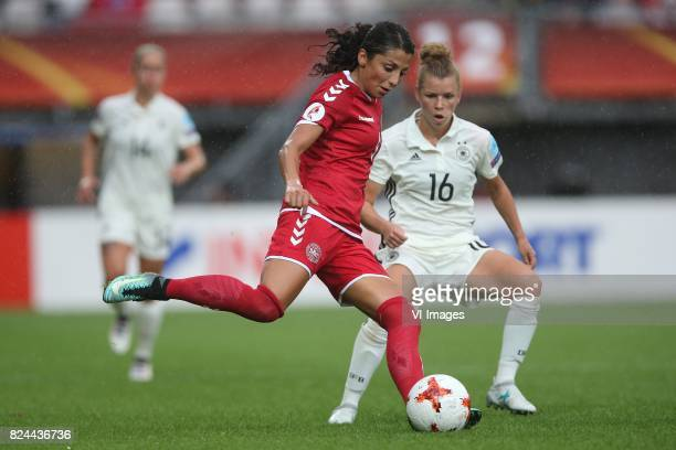 Nadia Nadim of Denmark women Linda Dallmann of Germany women during the UEFA WEURO 2017 quarter finale match between Germany and Denmark at the...