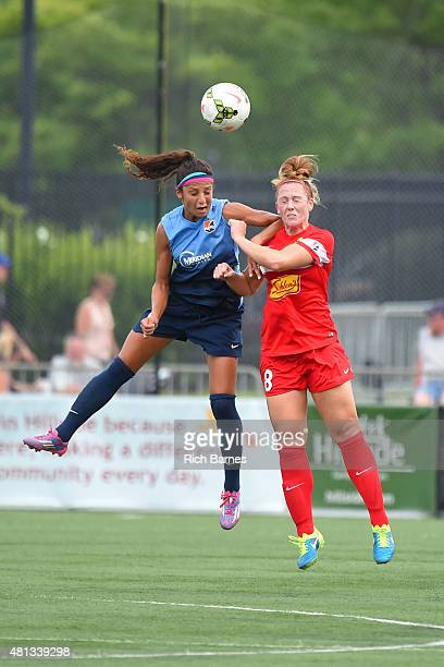 Nadia Nadim of Sky Blue FC and Ashley Nick of the Western New York Flash battle for a loose ball during the second half at Sahlen's Stadium on July...