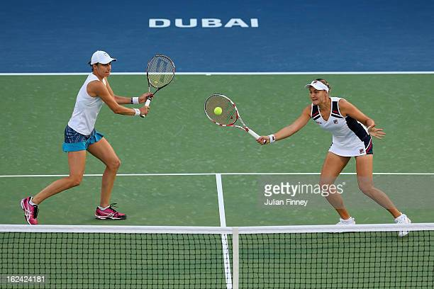 Nadia Petrova of Russia and Katerina Srebotnik of Slovenia in action in their doubles final match against Bethanie MattekSands of USA and Sania Mirza...