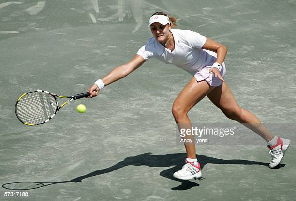 Nadia Petrova of Russia hits a return during the Family Circle Cup final against Patty Schnyder of Switzerland on April 16 2006 at the Family Circle...