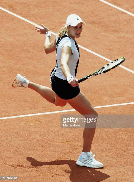 Nadia Petrova of Russia in action against Amelie Mauresmo of France during the Qatar Total German Open on May 6 2005 in Berlin Germany