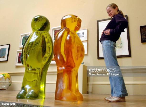 Nadia Powell with works in urethane resin Jelly Baby I Jelly Baby II by Mauro Perrucchetti for sale at 20000 each at the Royal Academy's Summer...