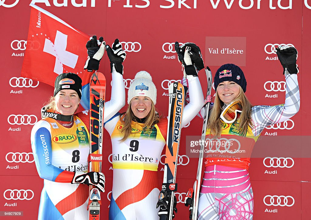 <a gi-track='captionPersonalityLinkClicked' href=/galleries/search?phrase=Nadia+Styger&family=editorial&specificpeople=774048 ng-click='$event.stopPropagation()'>Nadia Styger</a> of Switzerland takes 2nd place, <a gi-track='captionPersonalityLinkClicked' href=/galleries/search?phrase=Fraenzi+Aufdenblatten&family=editorial&specificpeople=722501 ng-click='$event.stopPropagation()'>Fraenzi Aufdenblatten</a> of Switzerland takes 1st place, <a gi-track='captionPersonalityLinkClicked' href=/galleries/search?phrase=Lindsey+Vonn&family=editorial&specificpeople=4668171 ng-click='$event.stopPropagation()'>Lindsey Vonn</a> of the USA takes 3rd place during the Audi FIS Alpine Ski World Cup Women's Super G on December 20, 2009 in Val d'Isere, France.