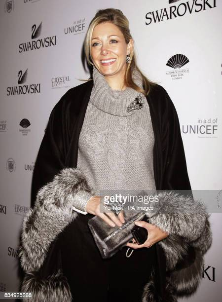 Nadia Swarovski arrives at the Mandarin Oriental in Knightsbridge for the switching on of a five metre high Swarovski Crystal Snowflake in central...