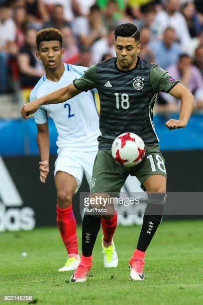Nadiem Amiri Mason Holgate during the UEFA European Under21 Championship Semi Final match between England and Germany at Tychy Stadium on June 27...
