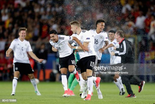 Nadiem Amiri of Germany and Felix Platte of Germany celebrate after the UEFA European Under21 Championship Final between Germany and Spain at Krakow...