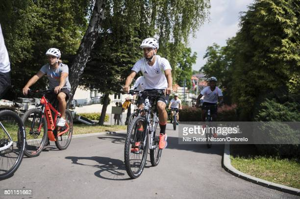 Nadiem Amiri of Germany arrives to the German U21 national team training session at Official Training Ground Wielczka on June 26 2017 in Krakow Poland