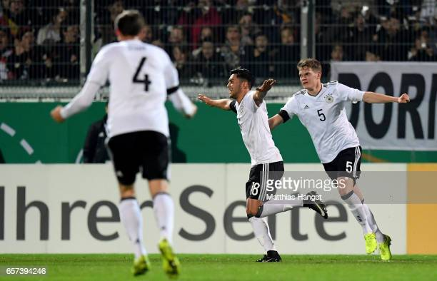 Nadiem Amiri of Germany celebrates after scoring his teams first goal during the U21 international friendly match between Germany and England at...