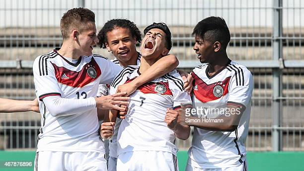 Nadiem Amiri of Germany celebrates his team's first goal with his team mates during to the UEFA European Under19 Championship Elite Round match...