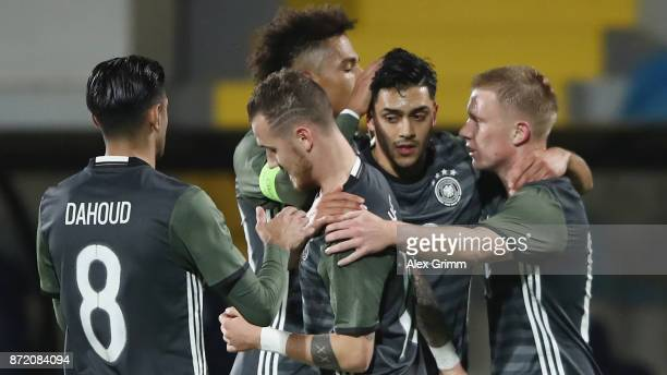 Nadiem Amiri of Germany celebrates his team's second goal with team mates during the UEFA Under21 Euro 2019 Qualifier match between Azerbaijan U21...
