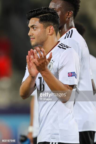 Nadiem Amiri of Germany gestures during the UEFA European Under21 Championship Group C match between Germany and Denmark at Krakow Stadium on June 21...