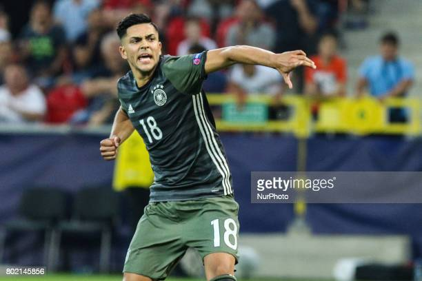 Nadiem Amiri of Germany reacts after scores the penalty during the UEFA U21 semi final match between England and Germany at Tychy Stadium on June 27...