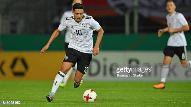 Nadiem Amiri of Germany runs with the ball during the UEFA Euro 2019 Qualifier match between Germany U21 and Kosovo U21 at Osnatel Arena on September...