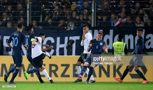 Nadiem Amiri of Germany scores his teams first goal during the U21 international friendly match between Germany and England at BRITAArena on March 24...