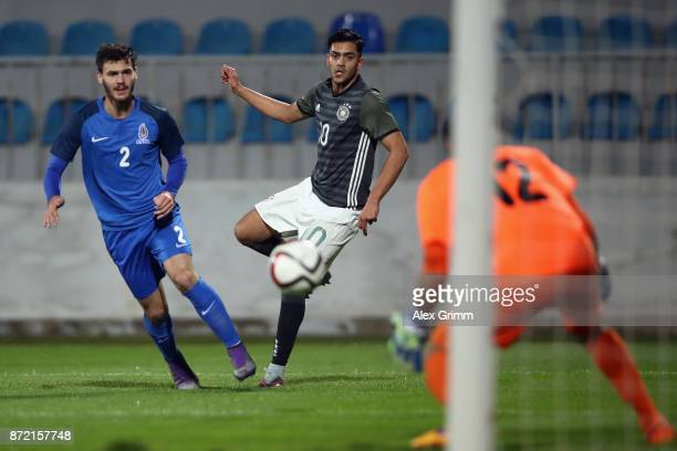 Nadiem Amiri of Germany shoots the ball during the UEFA Under21 Euro 2019 Qualifier match between Azerbaijan U21 and Germany U21 at Dalga Arena on...
