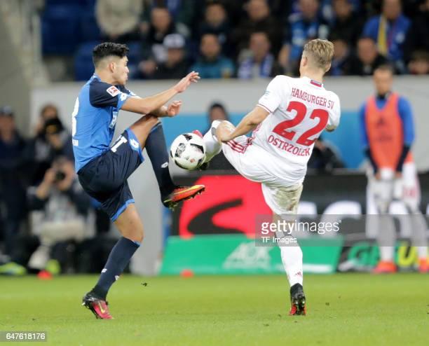 Nadiem Amiri of Hoffenheim and Matthias Ostrzolek of Hamburg battle for the ball during the Bundesliga match between TSG 1899 Hoffenheim and...