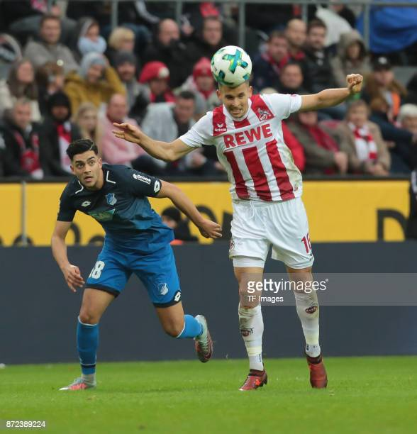 Nadiem Amiri of Hoffenheim and Pawel Olkowski of FC Koeln battle for the ball during the Bundesliga match between 1 FC Koeln und TSG 1899 Hoffenheim...