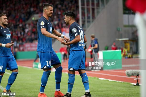 Nadiem Amiri of Hoffenheim celebrates after scoring his team`s first goal during the DFB Cup first round match between RotWeiss Erfurt and TSG 1899...