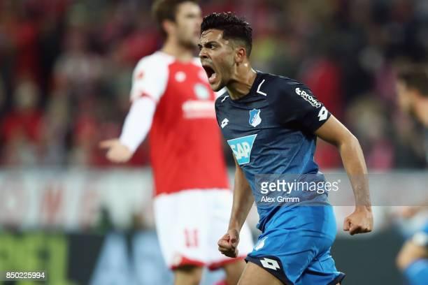 Nadiem Amiri of Hoffenheim celebrates his team's first goal during the Bundesliga match between 1 FSV Mainz 05 and TSG 1899 Hoffenheim at Opel Arena...