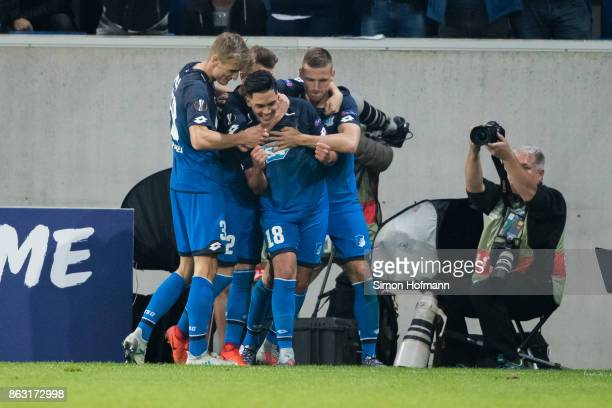 Nadiem Amiri of Hoffenheim celebrates his team's second goal with his team mates during the UEFA Europa League group C match between 1899 Hoffenheim...