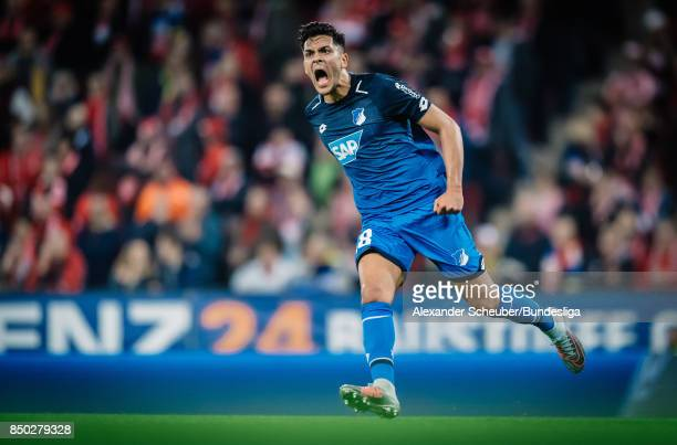 Nadiem Amiri of Hoffenheim celebrates the first goal for his team during to the Bundesliga match between 1 FSV Mainz 05 and TSG 1899 Hoffenheim at...