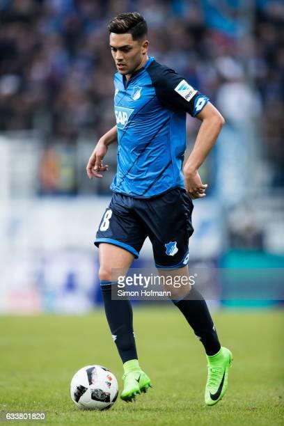 Nadiem Amiri of Hoffenheim controls the ball during the Bundesliga match between TSG 1899 Hoffenheim and 1 FSV Mainz 05 at Wirsol RheinNeckarArena on...