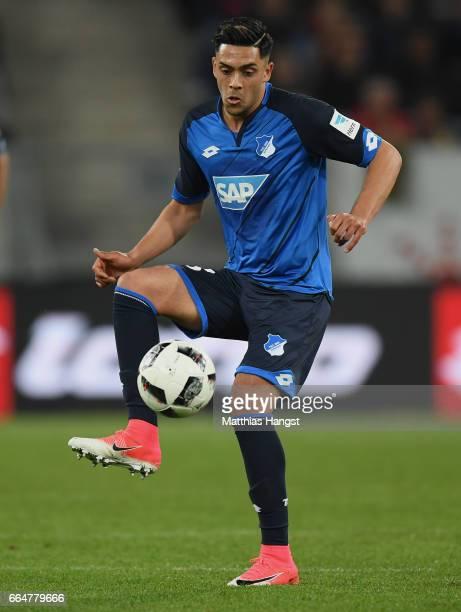 Nadiem Amiri of Hoffenheim controls the ball during the Bundesliga match between TSG 1899 Hoffenheim and Bayern Muenchen at Wirsol RheinNeckarArena...