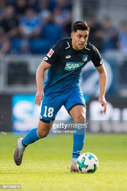 Nadiem Amiri of Hoffenheim in action during the Bundesliga match between TSG 1899 Hoffenheim and FC Augsburg at Wirsol RheinNeckarArena on October 14...