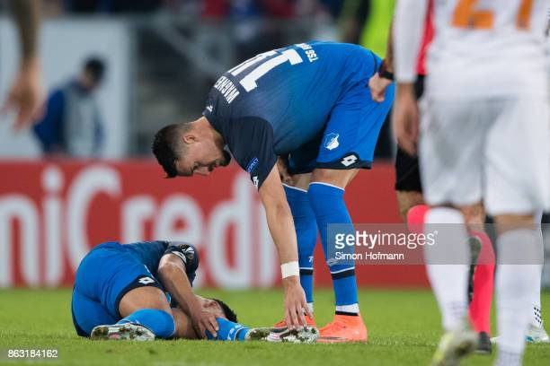 Nadiem Amiri of Hoffenheim is injured during the UEFA Europa League group C match between 1899 Hoffenheim and Istanbul Basaksehir FK at Wirsol...
