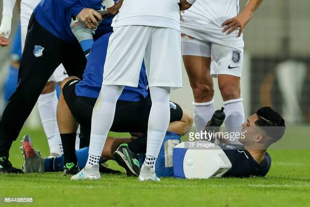 Nadiem Amiri of Hoffenheim on the ground during the UEFA Europa League Group C match between 1899 Hoffenheim and Istanbul Basaksehir FK at Wirsol...