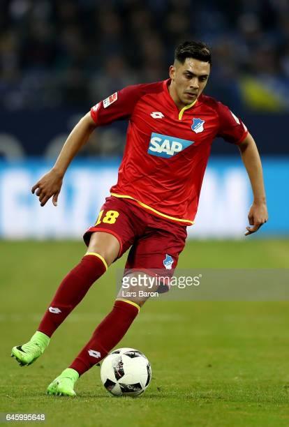 Nadiem Amiri of Hoffenheim runs with the ball during the Bundesliga match between FC Schalke 04 and TSG 1899 Hoffenheim at VeltinsArena on February...