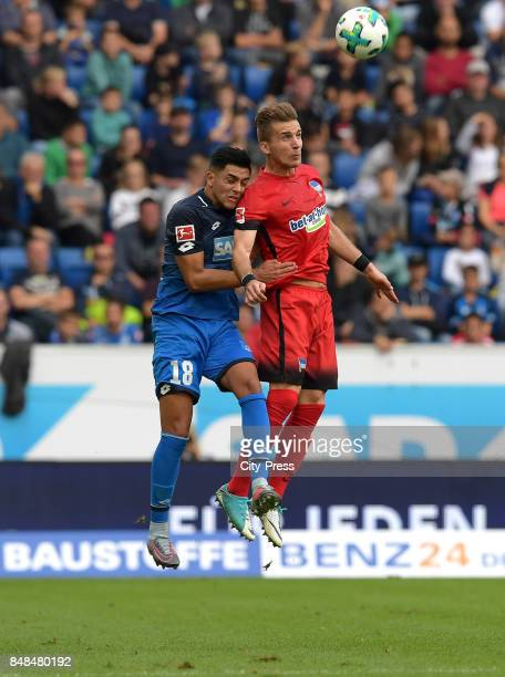 Nadiem Amiri of the TSG 1899 Hoffenheim and Peter Pekarik of Hertha BSC during the game between TSG Hoffenheim and Hertha BSC on september 17 2017 in...