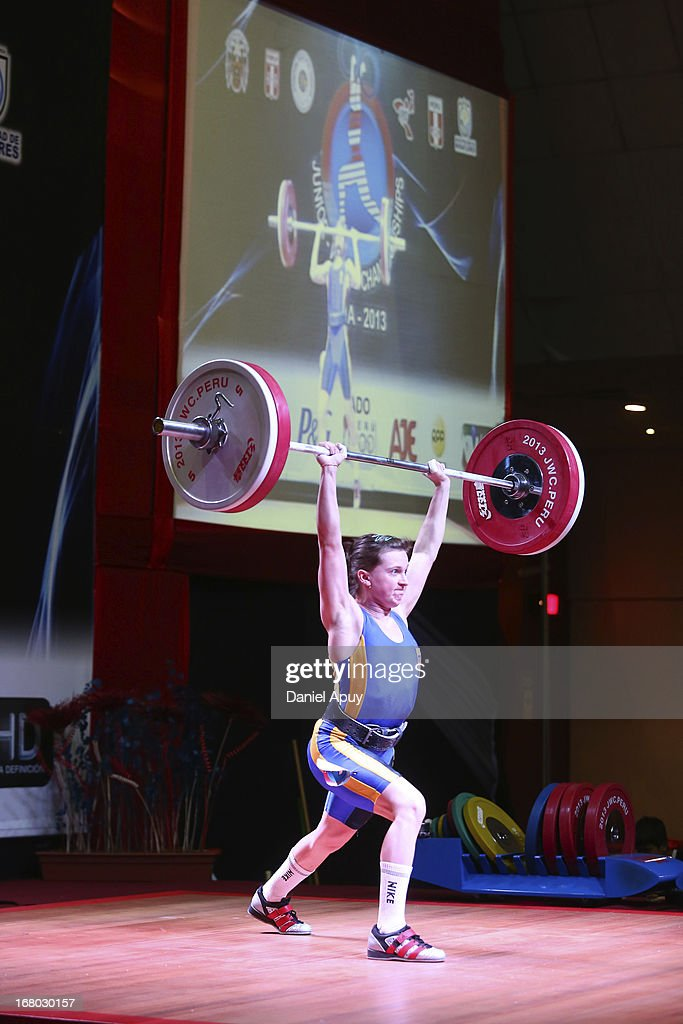Nadiia Iefimchuk of Ukraine B competes in the Women's 48kg during day one of the 2013 Junior Weightlifting World Championship at Maria Angola Convention Center on April 04, 2013 in Lima, Peru.